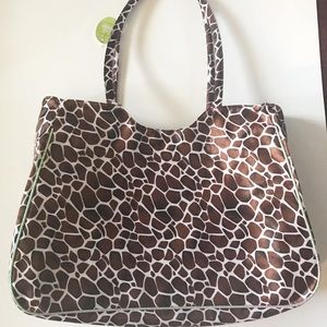 LEOPARD PRINT BAG SHIMMERY FABRIC NEW WITH TAG